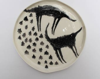 Black wolves in the forrest plate, magic porcelain plate, spoon rest