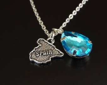 Spain Necklace, Spain Charm, Spain Pendant, Spain Jewelry, Spain Map Necklace, Spain Map Jewelry, Spanish Jewelry, Spanish Teacher Gift