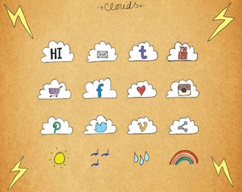 Social Media Icons, Colourful Web Icons, Blog Icons, Clouds, 3 Sizes for each, Transparent PNG files, PSD, Facebook, Twitter, Instagram etc.