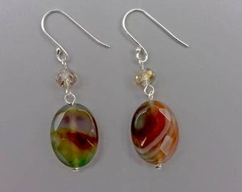"""2"""" Green and Red Agate Drop Earrings"""