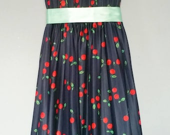 Vintage Homemade Dress, Navy Blue with Cherries