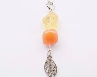 Carnelian Citrine and Charm Necklace