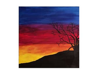 "Sunset Canvas Painting 16""x16"""