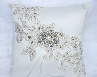 Lace and Rhinestone Ring Bearer Pillow