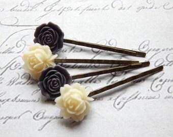 Flower Hair Pin Set - Flower Bobby Pin Set - Purple and Cream Flower Hair Pins -  Vintage Style Hair Accessories