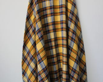 Vintage Yellow Plaid Long Skirt with Belt