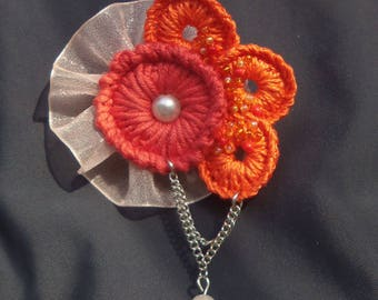 "Knitted brooch ""Оrient sun"""