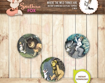 Where the Wild Things Are Cupcake Toppers -Instant Download 12 Designs + 9 Ruffles