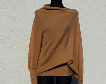 Sweater Light Brown Womens Sweater Loose knit Asymmetrical Design Oversize Sweater Summer Sweater