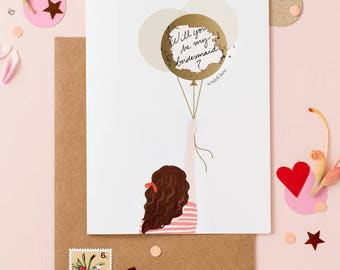 Will You Be My Bridesmaid Card - Write Your Message - Scratch Off Balloon- Wavy Hair Brown