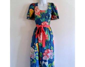 Vintage Floral Dress Tea Party 80s Belted - Size S, Pink Ribbon Bow, Blue Flowers, Bold Colorful, Midi Mididress