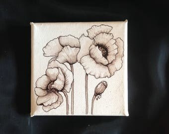 Original Acrylic mini painting of Poppies//Botanical art//hand painted on canvas.