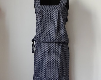 Blue dress with large straps, size L