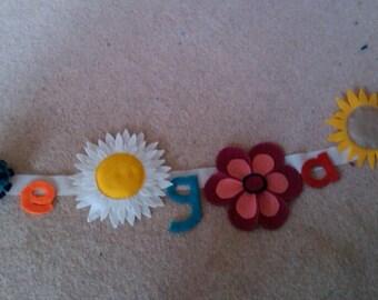 Felt flower name banner