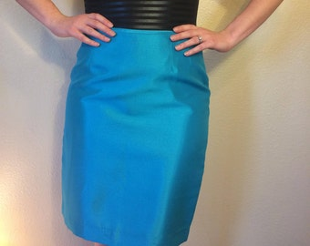 Vintage 1980s Shiny Electric Blue Pencil Skirt