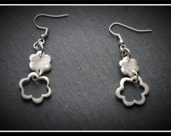 Flower Drop Earrings - Silver Precious Metal Clay (PMC), Handmade, Earrings - (Product Code: ACM034-17)