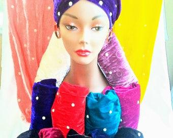 Single Velvet Turban With Pearl-like Beads