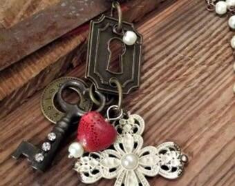 Vintage Skeleton Key Cross Necklace
