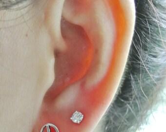 Peace Hippie Sign Earrings, Sterling Silver Earrings, Silver Stud Earrings, Peace Sign Earrings, 925