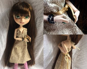 Babydoll, pullip and yosd cotton printed beige reflection l Golden
