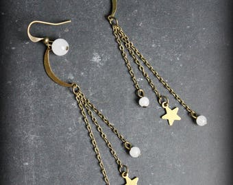 "Earrings ""Fly me to the moon"" Moon Star"