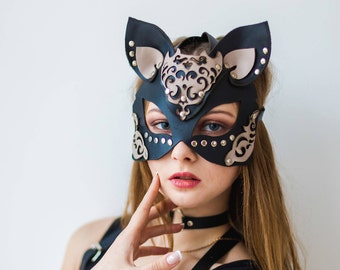 CatWoman Mask,Leather cat mask,leather mask,Kitty mask,cat costume,Fetish maskPartywear,Party mask,Masquerade,harness mask,