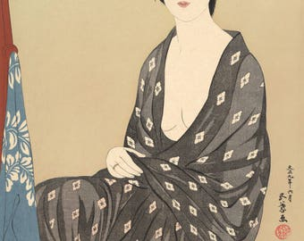 "Japanese Art Print ""Woman in Summer Kimono"" by Hashiguchi Goyo, woodblock print reproduction, fine art, asian art, cultural art"
