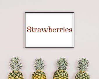 White Print, Red Print, Kitchen Wall Art, Art Print, Strawberries, Home Decor