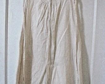 Sale! Vintage 60's Cream long dress raw cotton/linen lace-up front