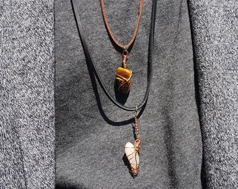 Wire Wrapped Pendant Necklace on Vegan Leather Cord with Clasp
