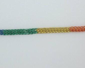 Rainbow Chain Maille Bracelet (Half Persian)