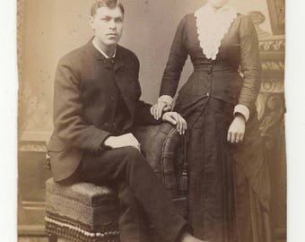 1880's Antique Cabinet Card - Victorian Wedding Couple in Love - found photo