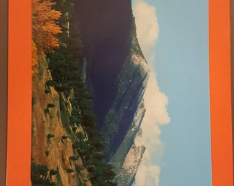 Blank greeting card featuring mountain scenery