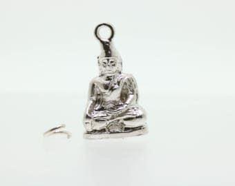 Sitting buddha Traditional Silver Charm