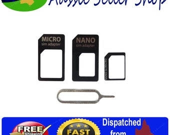 SIM Card Adapter Kit 4 in 1 Nano Micro Standard Size Converter Tray for Mobile Phones,Iphones, Ipads and Tablets