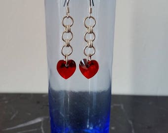 Red Swarovski heart sterling silver earrings