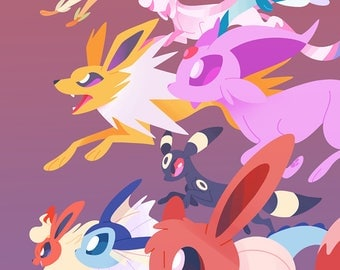 Eeveelutions Art PRINT // Pokemon // Eevee Evolutions // Eevee Flareon Jolteon Vaporeon Umbreon Espeon // Poster // Gamer Gifts