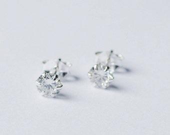 Cubic Stud Earrings, Sterling Silver Earrings, Post Earrings, Small Earrings, Simple Earrings, Everyday earrings, Gift for her