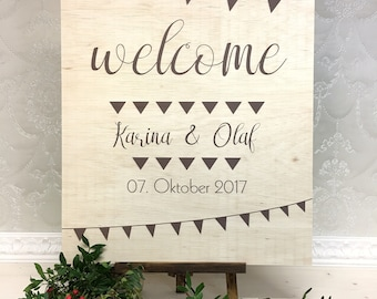 Wedding plate with decoration Garland natural wood wedding personalized plate