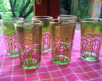 Moroccan Glasses - vintage set of 6 glasses
