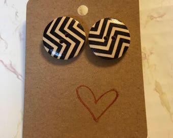 Chevron Wood Button Stud Earrings