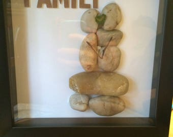 Shadow box rock and pebble art