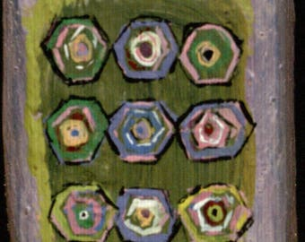 Two Sided Small Block - Abstract Retro Hexagons/Abstract Retro Flower-types in a Grid