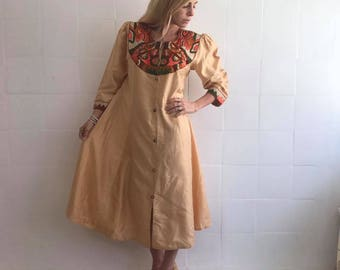 Galabia Dress, kaftan, In a golden shade, with embroidered applications, European size medium