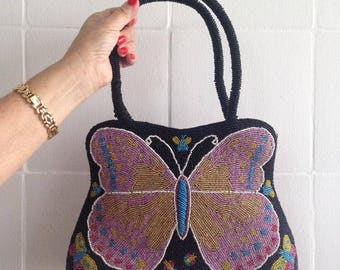 Hand bag embroidered with beads In butterfly sample