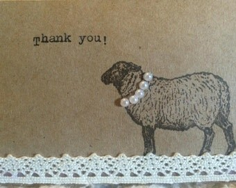 Fancy Sheep Mini Thank You Cards (set of 7), handmade, vintage, lamb, small giftcards