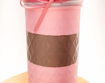 Rustic, Handpainted Quilted Mason Jar: Pink and Grey