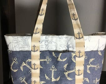 Small Tote Bag with Pockets - Nautical, blue, tan