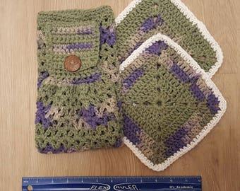 Set of Handmade Crochet Dishtowel and 2 Dishcloths in Sage Green/Purple, Dish towel, Dish cloth, Cotton