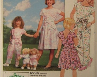 Vintage 1987 Butterick pattern #4889 children's/girl's sizes 12/14 dress & jumpsuit w/matching Cabbage Patch Kids outfit